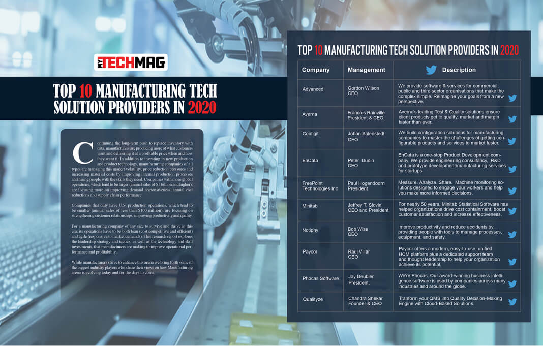 Top 10 Manufacturing Tech Solution Providers 2020